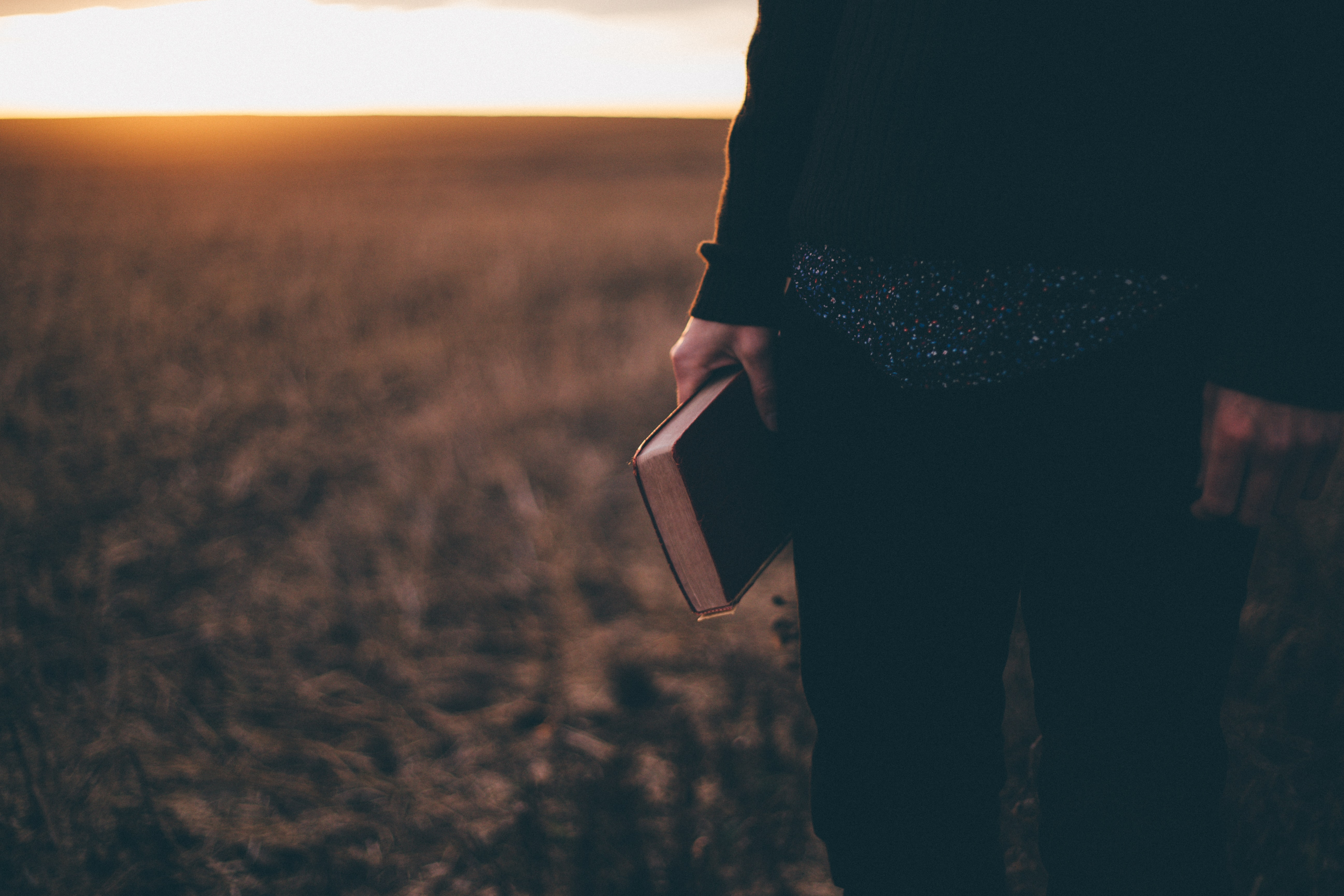 A person standing in a field and holding a Bible